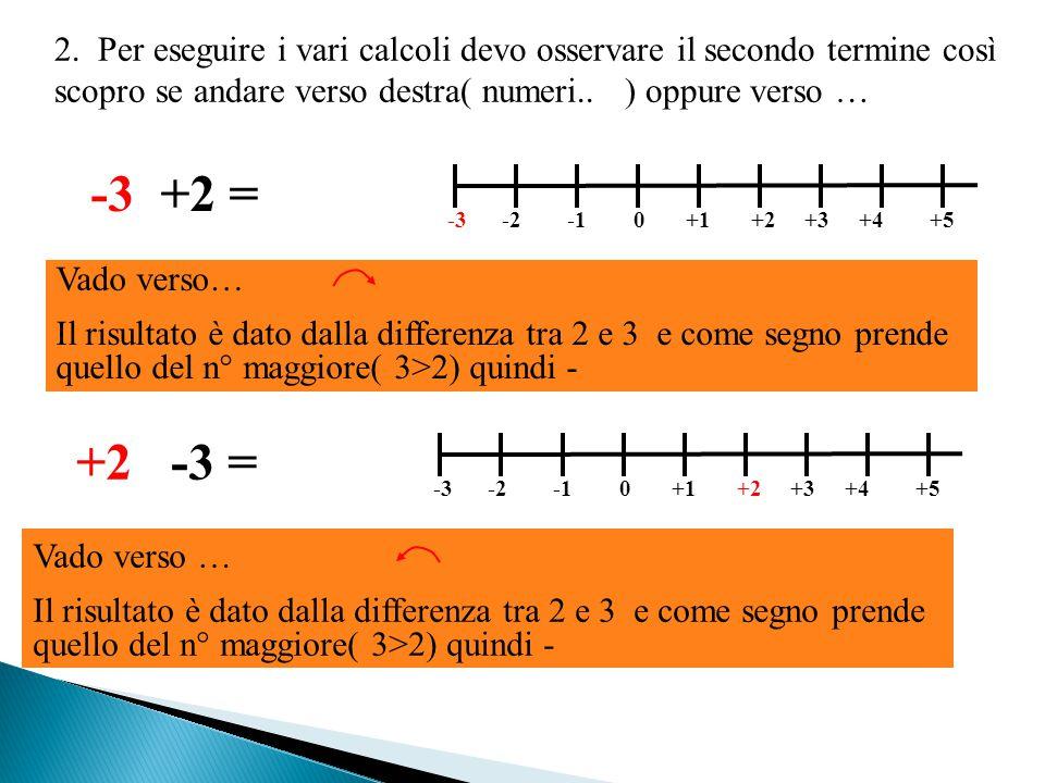 2. Per eseguire i vari calcoli devo osservare il secondo termine così scopro se andare verso destra( numeri.. ) oppure verso …