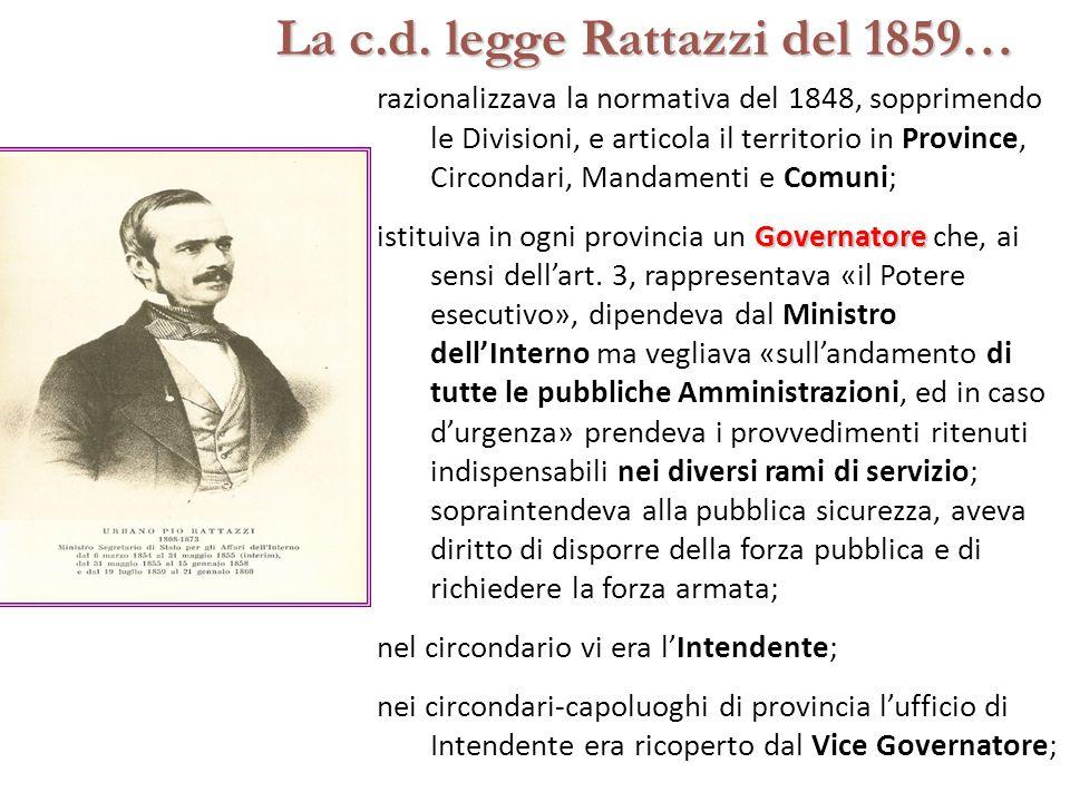 La c.d. legge Rattazzi del 1859…