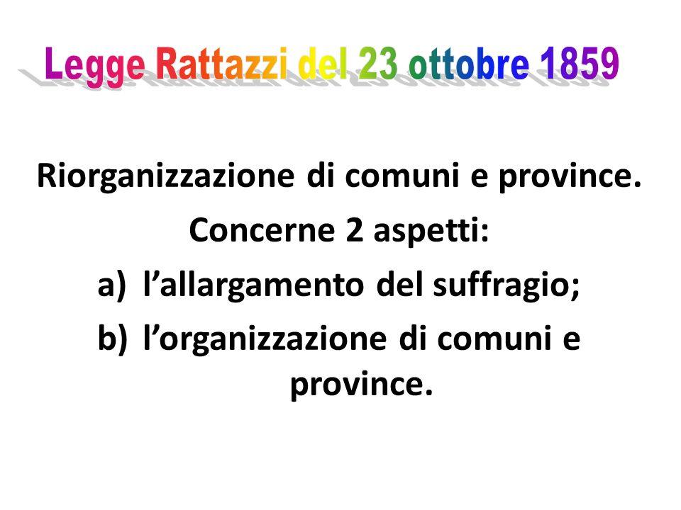 Riorganizzazione di comuni e province. Concerne 2 aspetti: