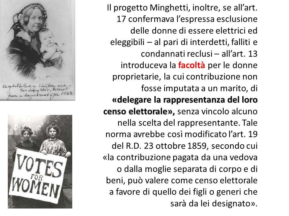 Il progetto Minghetti, inoltre, se all'art