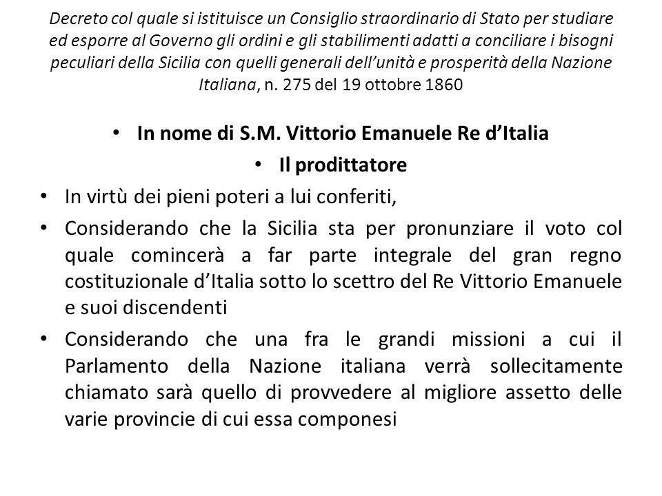 In nome di S.M. Vittorio Emanuele Re d'Italia