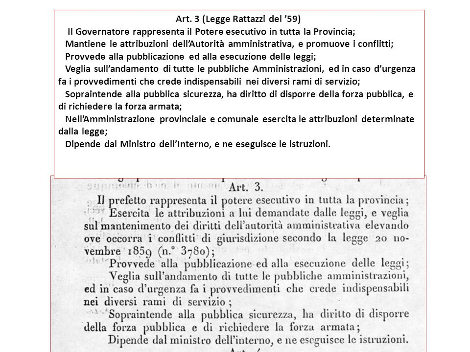 Art. 3 (Legge Rattazzi del '59)