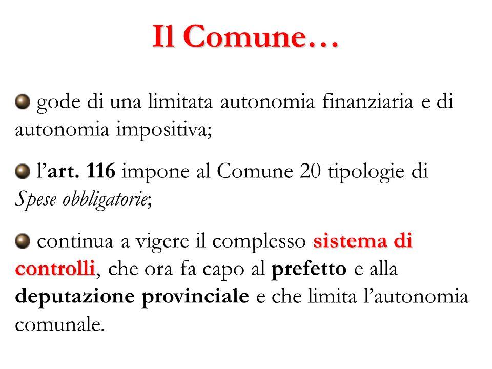 Il Comune… gode di una limitata autonomia finanziaria e di autonomia impositiva; l'art. 116 impone al Comune 20 tipologie di Spese obbligatorie;