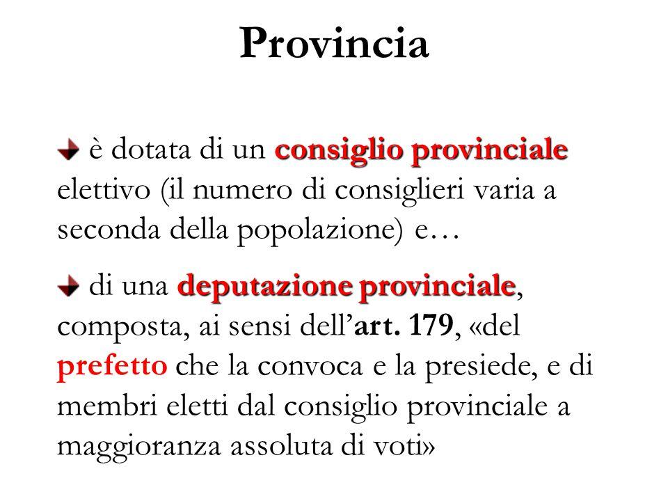 Provincia è dotata di un consiglio provinciale elettivo (il numero di consiglieri varia a seconda della popolazione) e…