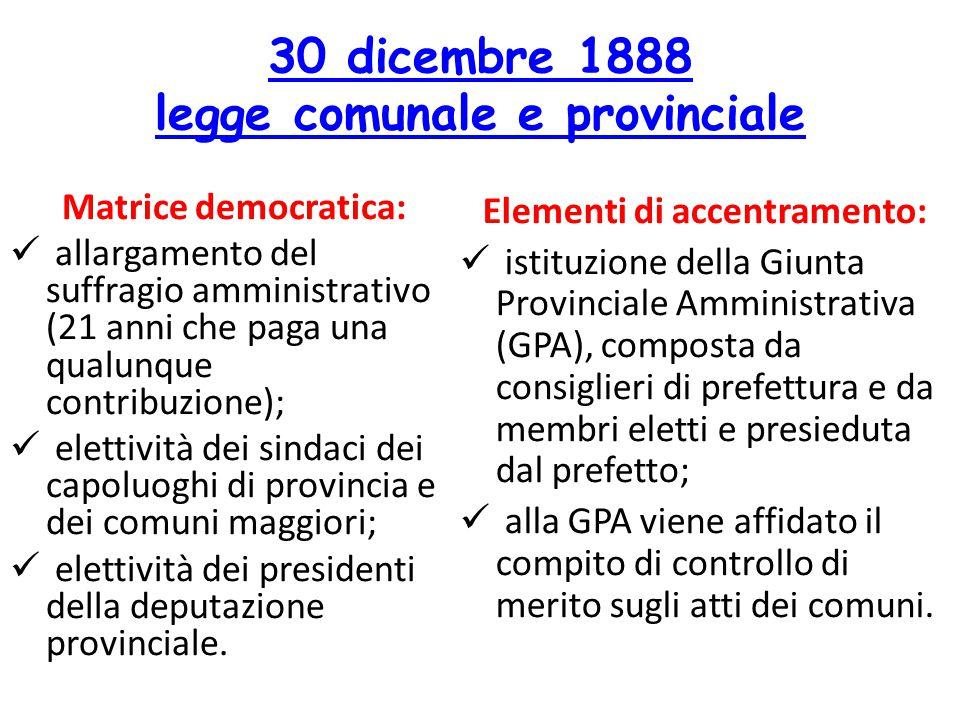 30 dicembre 1888 legge comunale e provinciale