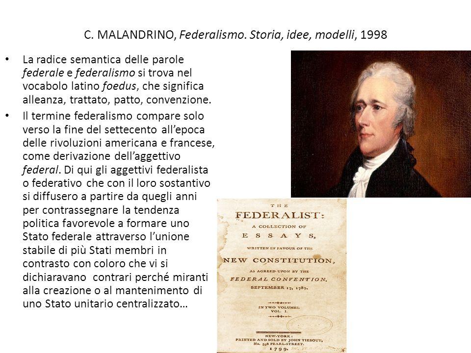 C. MALANDRINO, Federalismo. Storia, idee, modelli, 1998