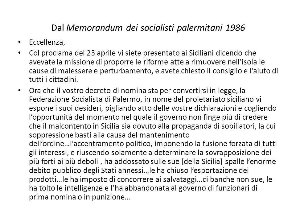 Dal Memorandum dei socialisti palermitani 1986