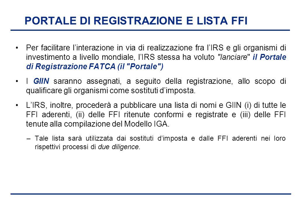 PORTALE DI REGISTRAZIONE E LISTA FFI