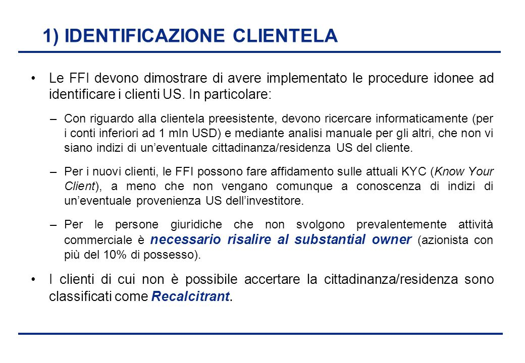 1) IDENTIFICAZIONE CLIENTELA