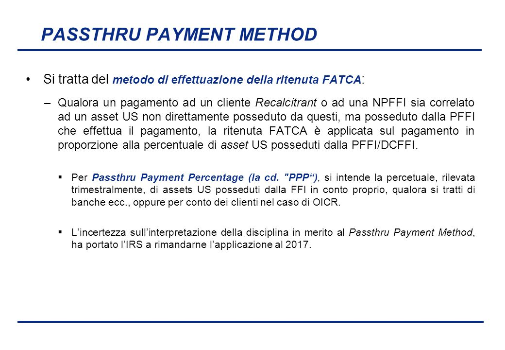 PASSTHRU PAYMENT METHOD
