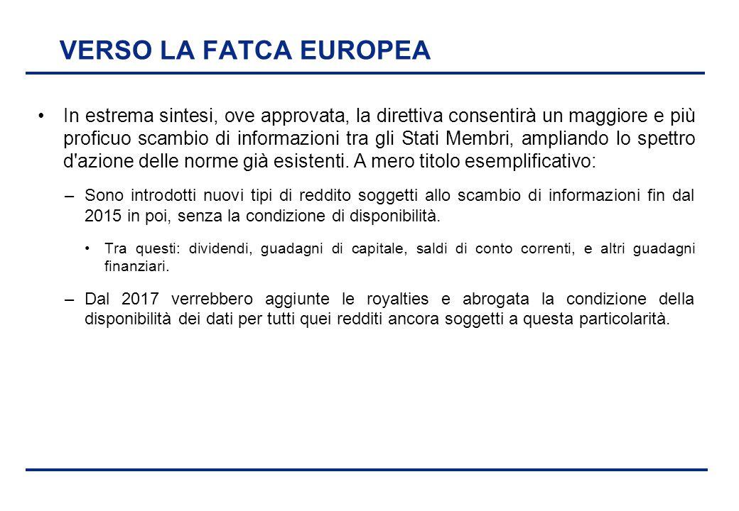 VERSO LA FATCA EUROPEA