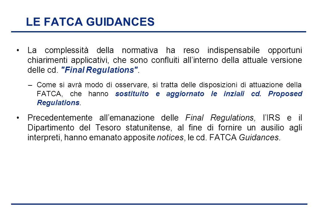 LE FATCA GUIDANCES