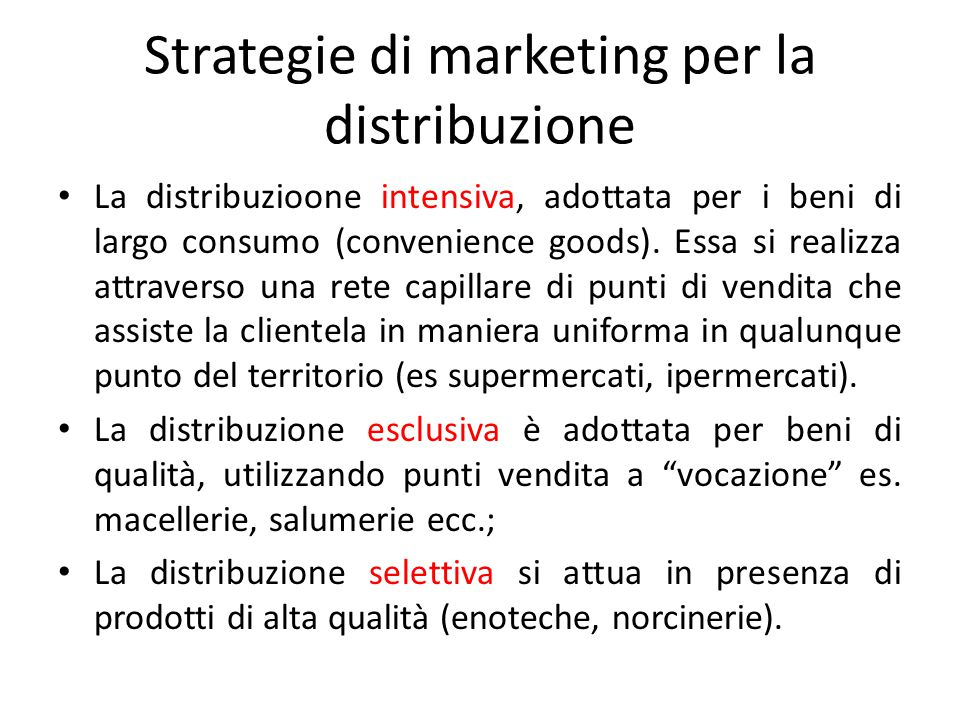 Strategie di marketing per la distribuzione