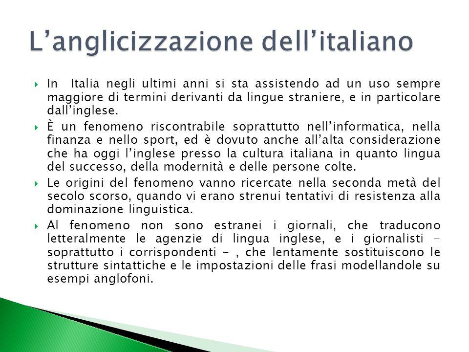 L'anglicizzazione dell'italiano