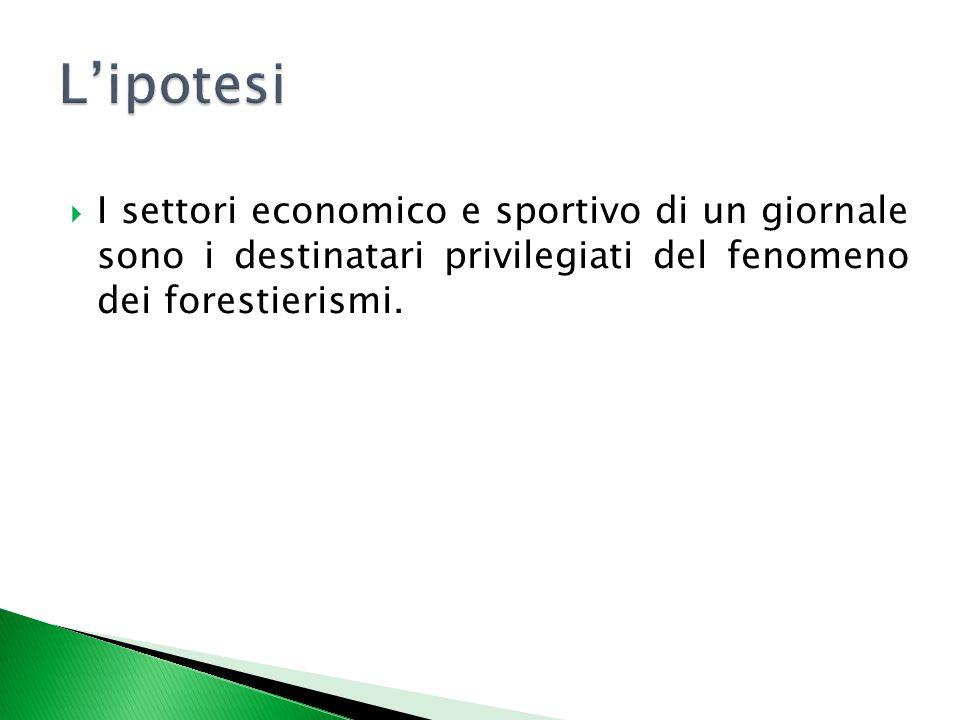 L'ipotesi I settori economico e sportivo di un giornale sono i destinatari privilegiati del fenomeno dei forestierismi.