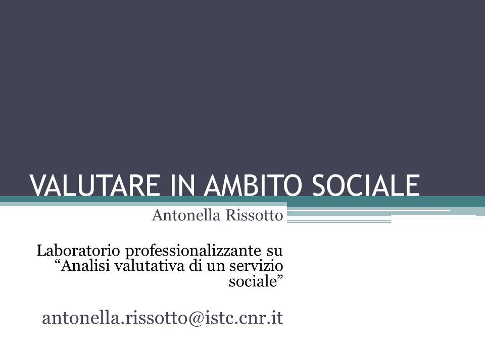 VALUTARE IN AMBITO SOCIALE