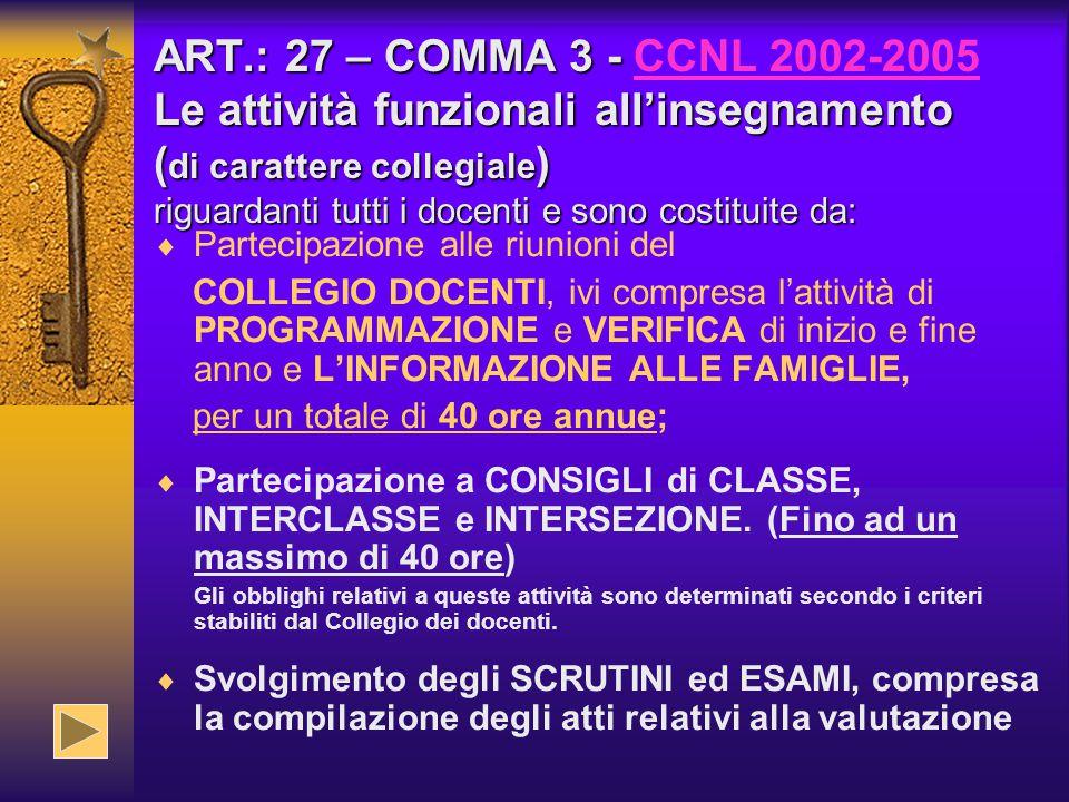 ART.: 27 – COMMA 3 - CCNL 2002-2005 Le attività funzionali all'insegnamento (di carattere collegiale) riguardanti tutti i docenti e sono costituite da: