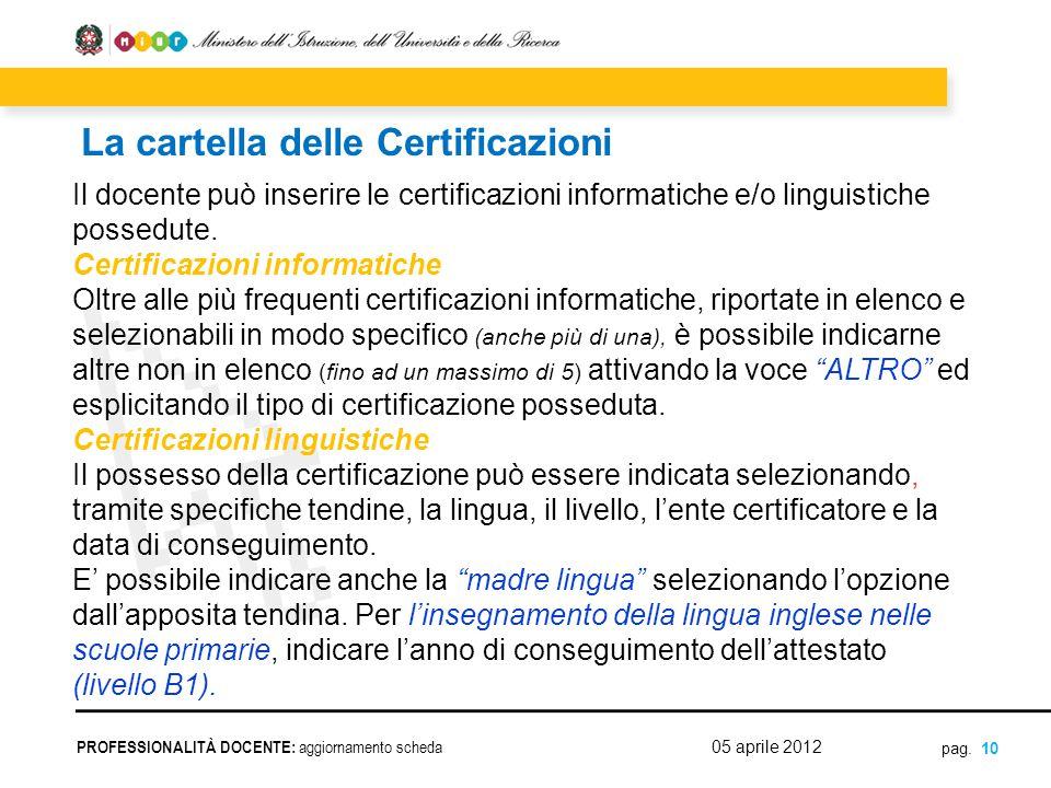 La cartella delle Certificazioni