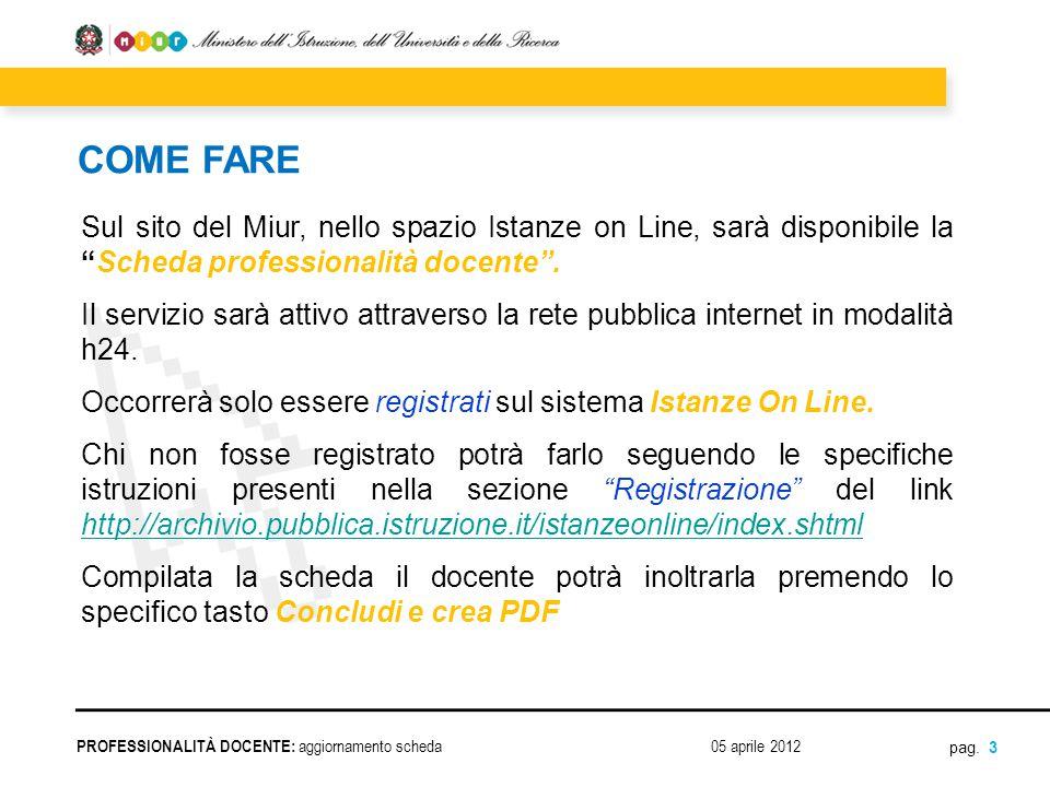COME FARE Sul sito del Miur, nello spazio Istanze on Line, sarà disponibile la Scheda professionalità docente .