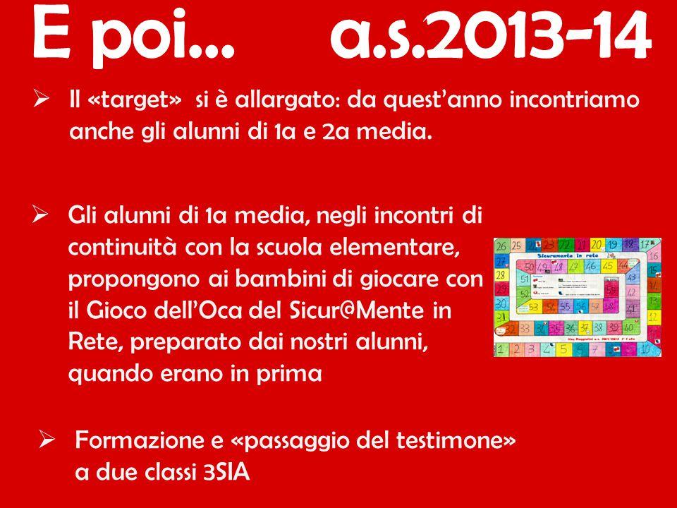 E poi... a.s.2013-14 Il «target» si è allargato: da quest'anno incontriamo anche gli alunni di 1a e 2a media.