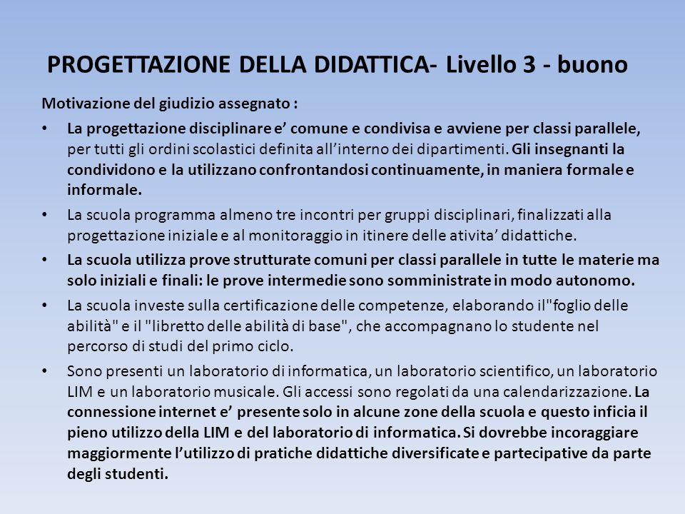 PROGETTAZIONE DELLA DIDATTICA- Livello 3 - buono