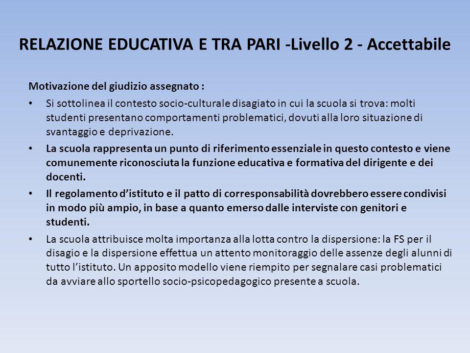 RELAZIONE EDUCATIVA E TRA PARI -Livello 2 - Accettabile
