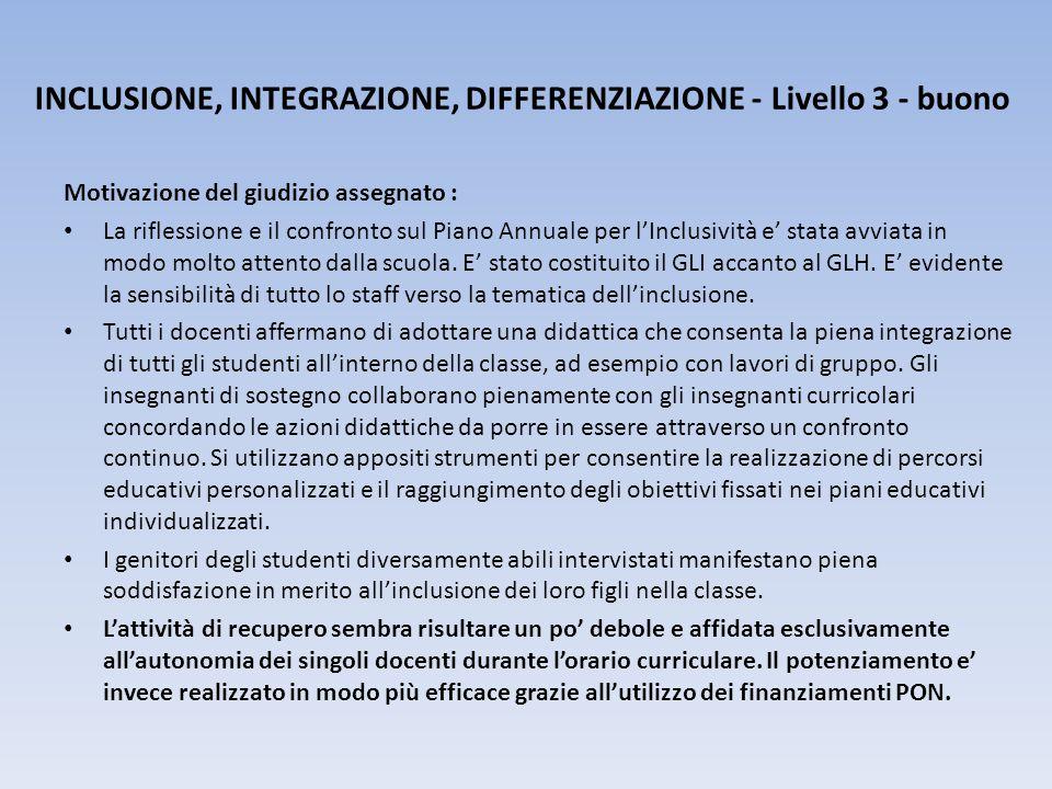INCLUSIONE, INTEGRAZIONE, DIFFERENZIAZIONE - Livello 3 - buono