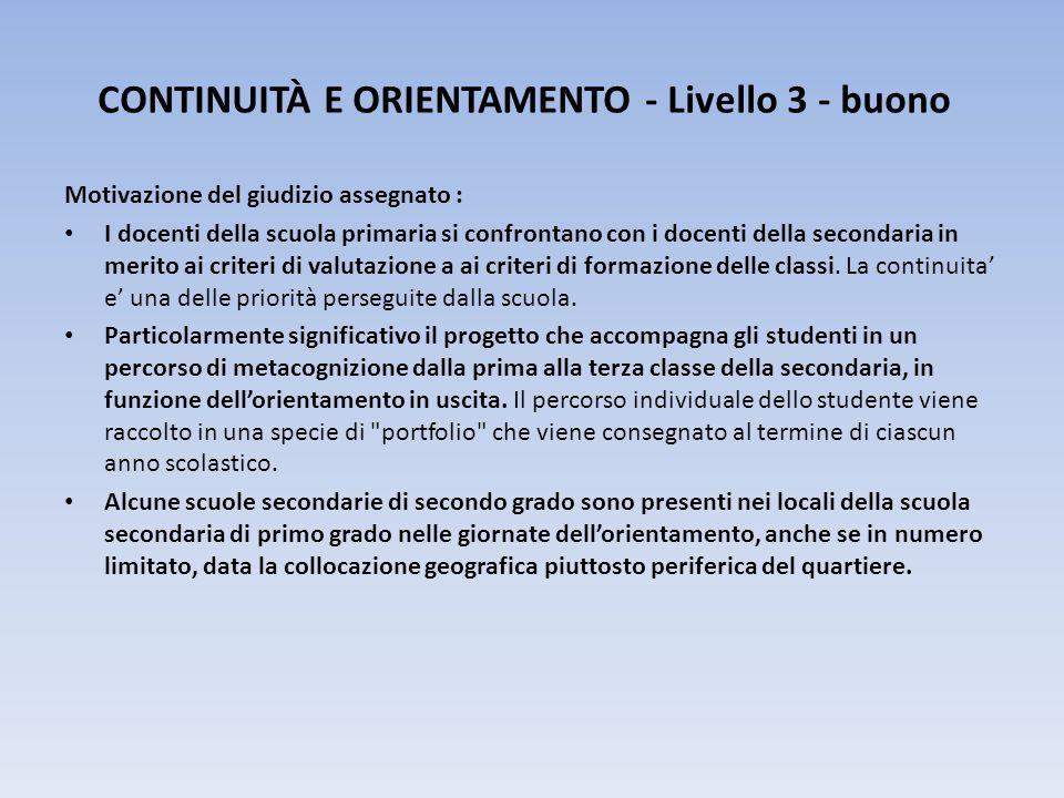 CONTINUITÀ E ORIENTAMENTO - Livello 3 - buono
