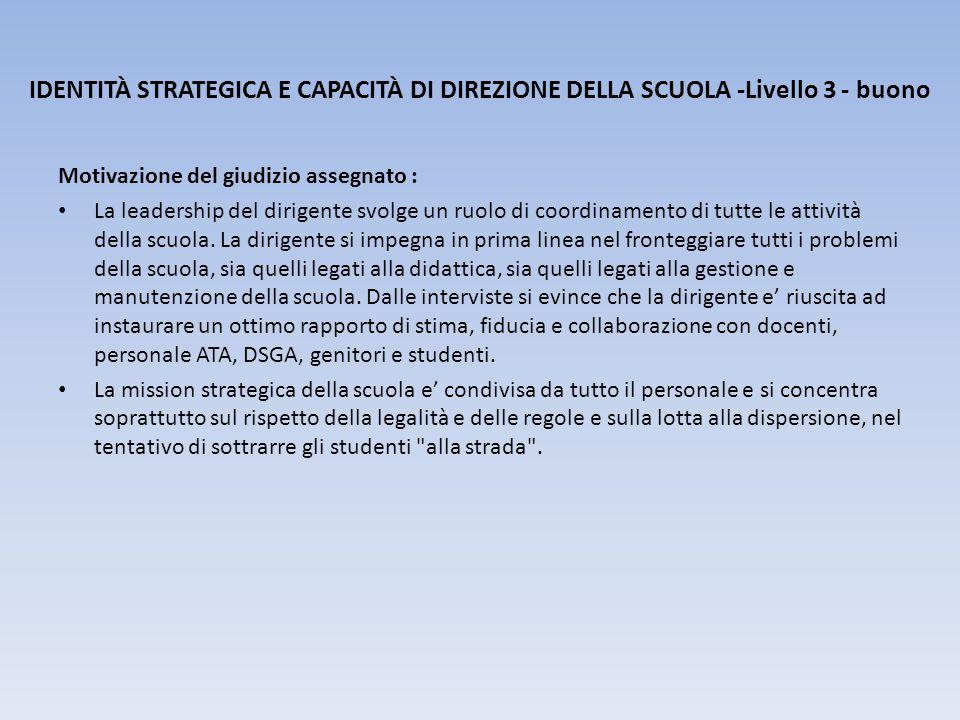 IDENTITÀ STRATEGICA E CAPACITÀ DI DIREZIONE DELLA SCUOLA -Livello 3 - buono