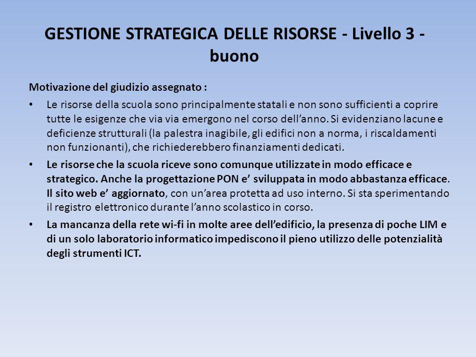 GESTIONE STRATEGICA DELLE RISORSE - Livello 3 -buono