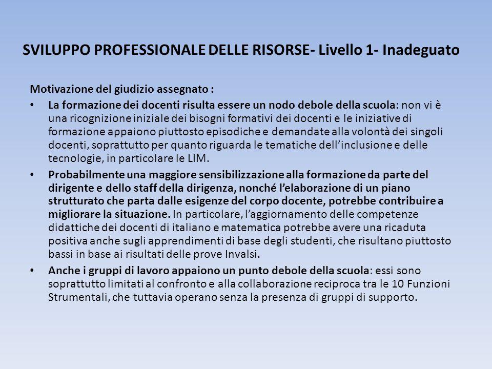 SVILUPPO PROFESSIONALE DELLE RISORSE- Livello 1- Inadeguato