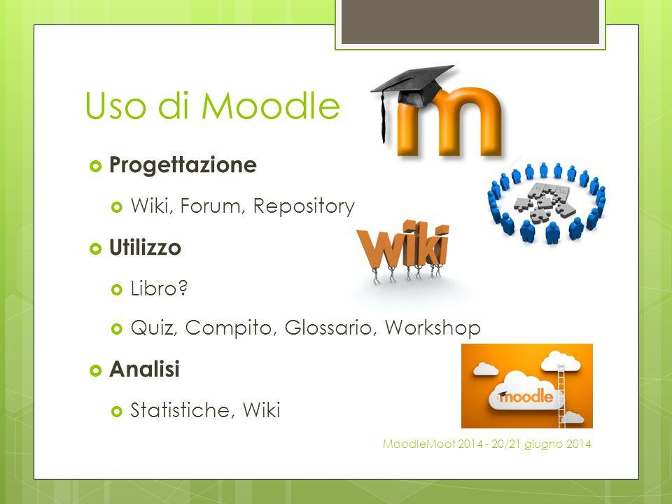 Uso di Moodle Progettazione Utilizzo Analisi Wiki, Forum, Repository