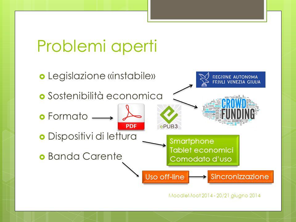 Problemi aperti Legislazione «instabile» Sostenibilità economica