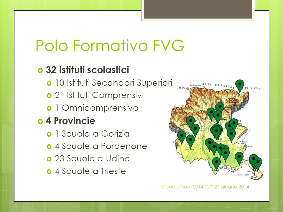 Polo Formativo FVG 32 Istituti scolastici 4 Provincie