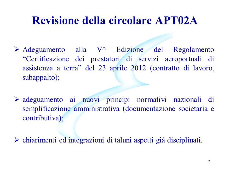 Revisione della circolare APT02A