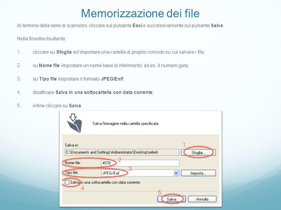 Memorizzazione dei file