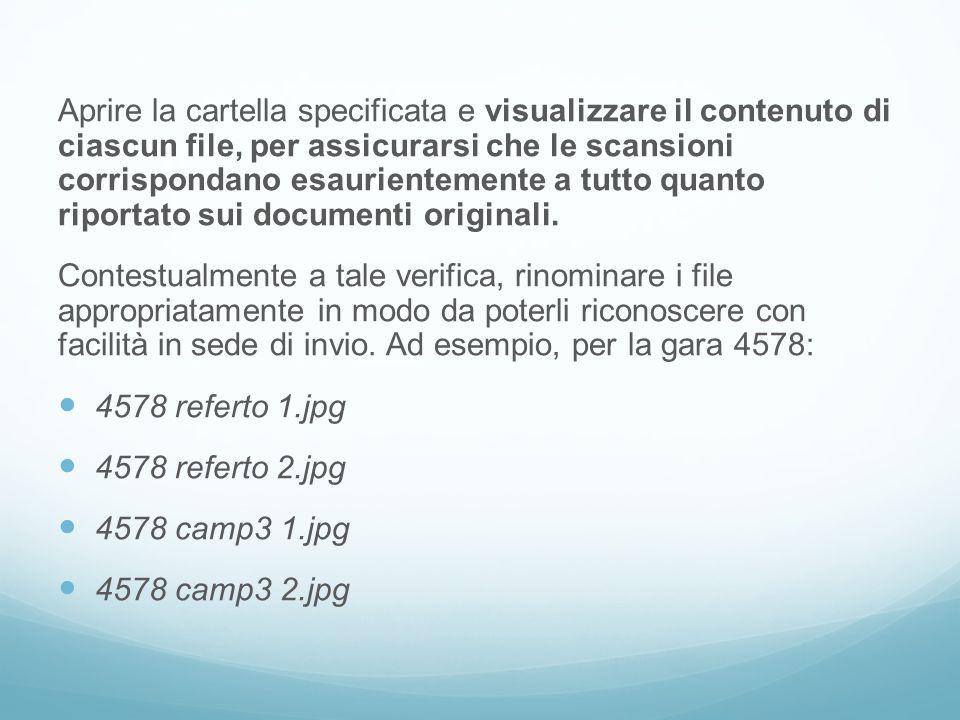 Aprire la cartella specificata e visualizzare il contenuto di ciascun file, per assicurarsi che le scansioni corrispondano esaurientemente a tutto quanto riportato sui documenti originali.
