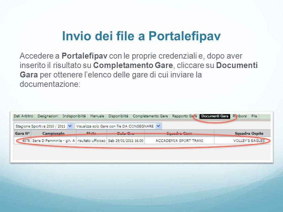 Invio dei file a Portalefipav