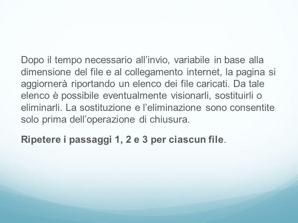Dopo il tempo necessario all'invio, variabile in base alla dimensione del file e al collegamento internet, la pagina si aggiornerà riportando un elenco dei file caricati.
