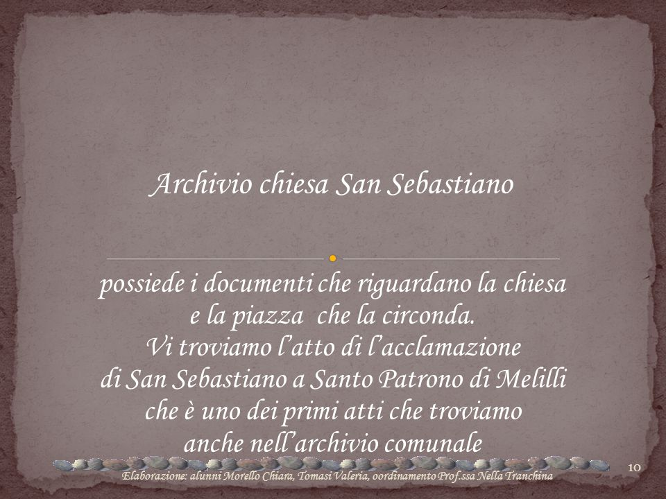Archivio chiesa San Sebastiano