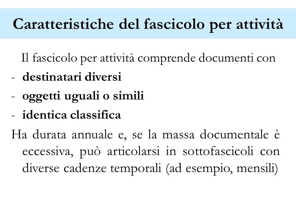 Caratteristiche del fascicolo per attività