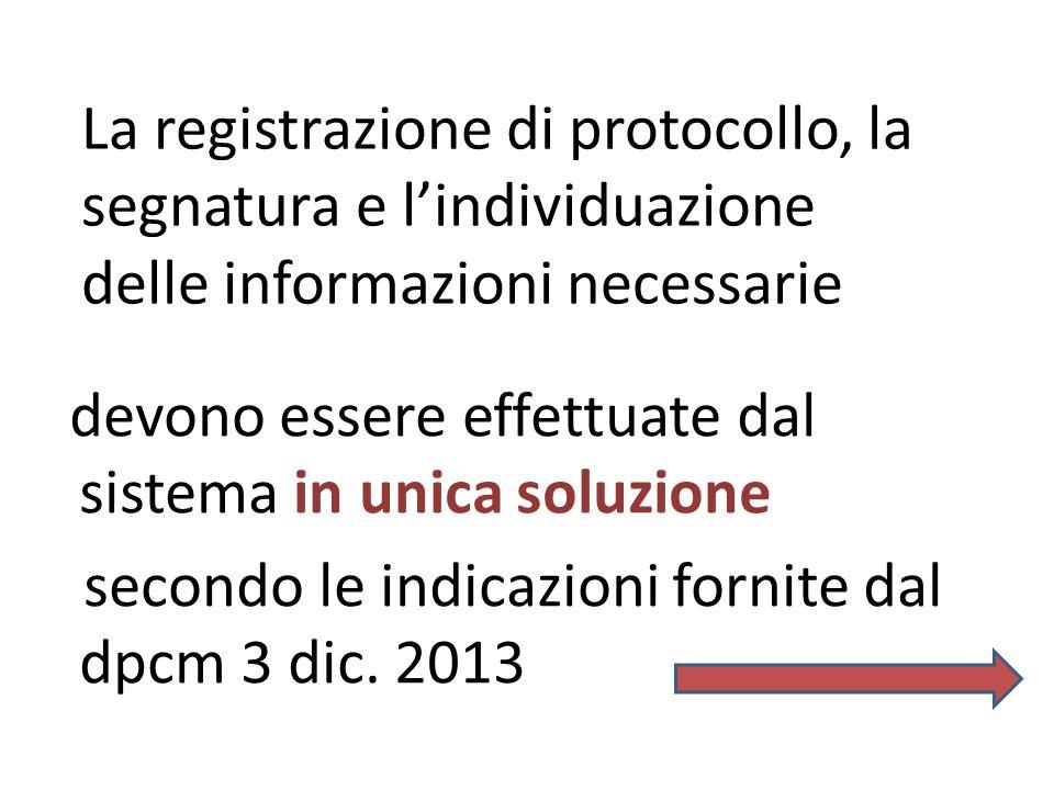 La registrazione di protocollo, la segnatura e l'individuazione delle informazioni necessarie