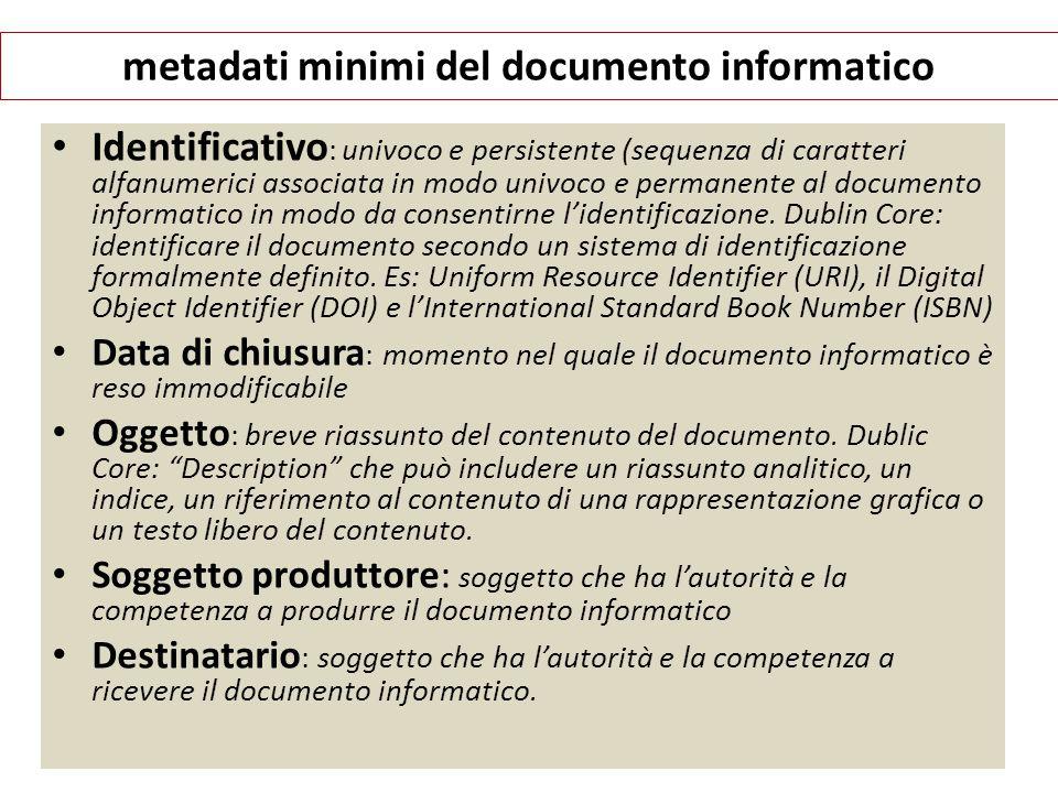 metadati minimi del documento informatico