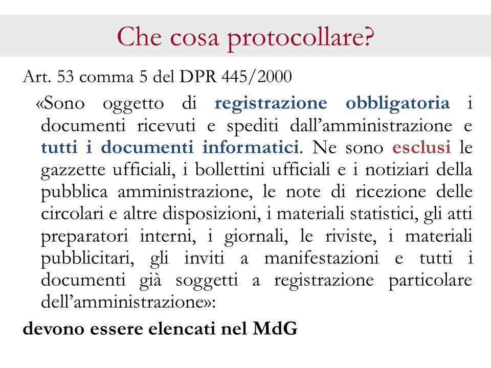 Che cosa protocollare devono essere elencati nel MdG