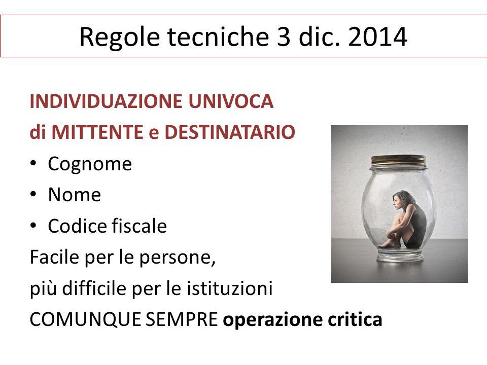 Regole tecniche 3 dic. 2014 INDIVIDUAZIONE UNIVOCA