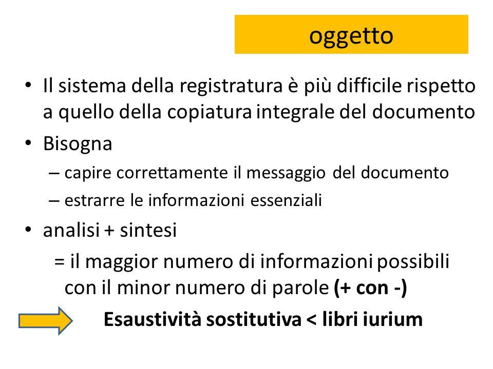 oggetto Il sistema della registratura è più difficile rispetto a quello della copiatura integrale del documento.