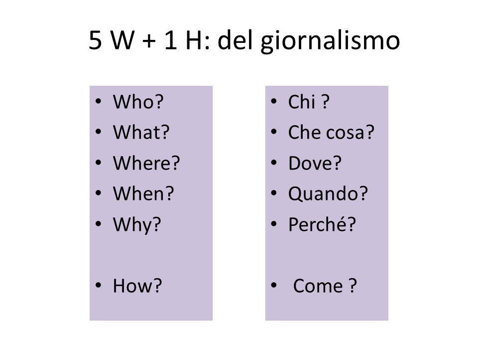 5 W + 1 H: del giornalismo Who What Where When Why How Chi