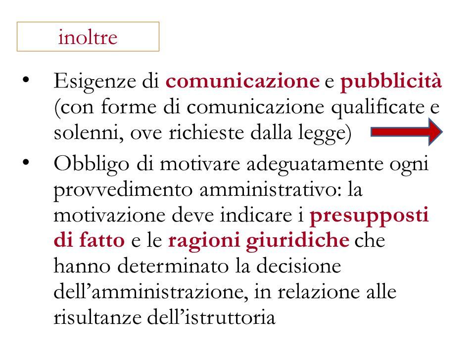 inoltre Esigenze di comunicazione e pubblicità (con forme di comunicazione qualificate e solenni, ove richieste dalla legge)