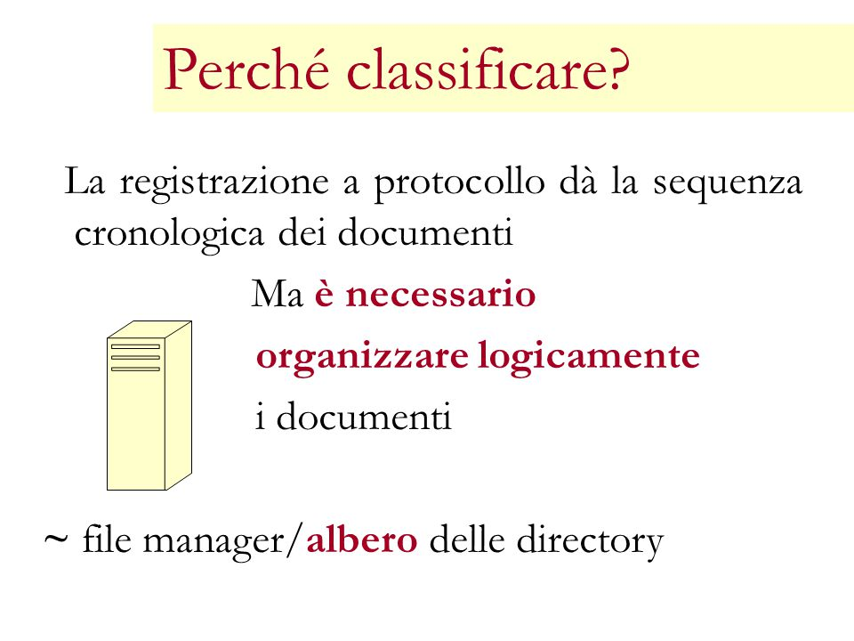 Perché classificare organizzare logicamente i documenti