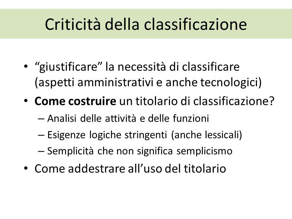 Criticità della classificazione